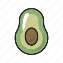 avocado, food, fruit, gastronomy, half, healthy, vegetable icon