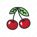 cherry, food, fruit, health, healthy, sweet, vegetable icon