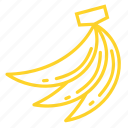 bananas, food, fruit, tropical fruit, yellow icon