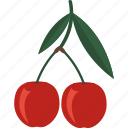 cherry, food, fruits, sheet icon