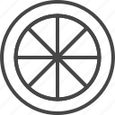 food, fruit, fruits, lemon, line, outline, slice icon