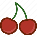 cherry, food, fruit, plant, wild icon