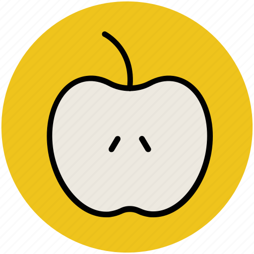 apple, food, fruit, half apple, healthy diet, healthy food icon