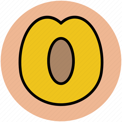 apricot, food, fruit, half apricot, healthy food, peach icon