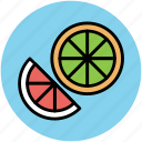 food, fruit, half lemon, half orange, healthy diet, lemon, lime icon