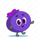 berry, blueberries, blueberry, character, food icon