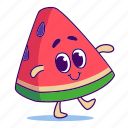berry, character, food, fruit, watermelon