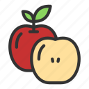 agriculture, apple, crop, fruit, slice, with icon