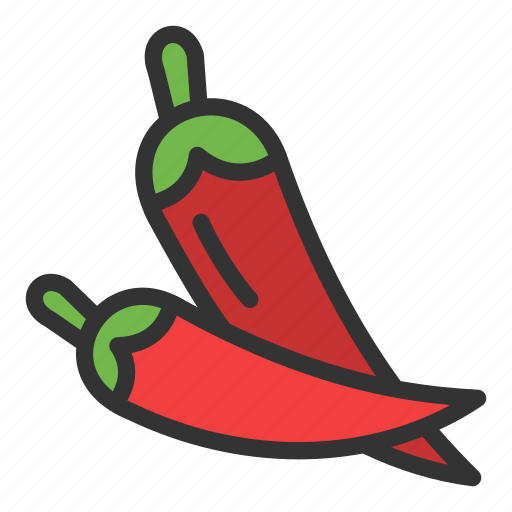 Chilli, crop, hot, pepper, red icon