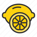 citrus, crop, lemon, orange icon