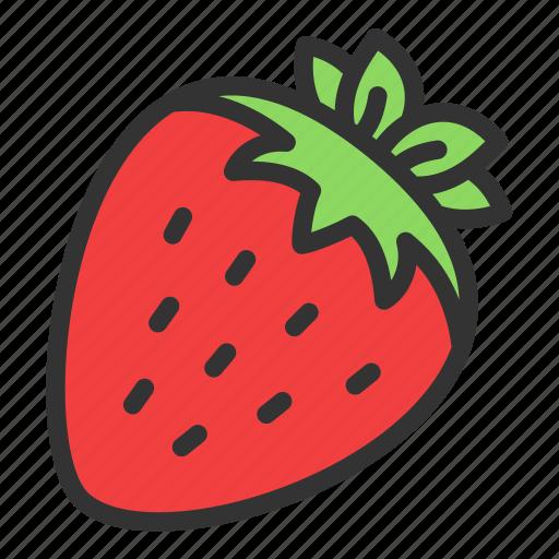 Strawberry, fruit, crop, dessert, harvest icon