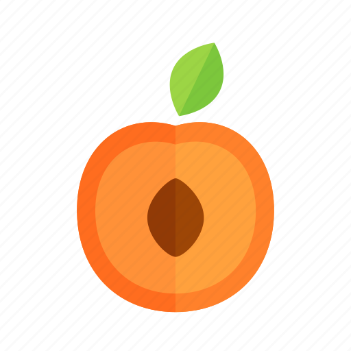 apricot, colour, food, fruit, health, peach, slice icon