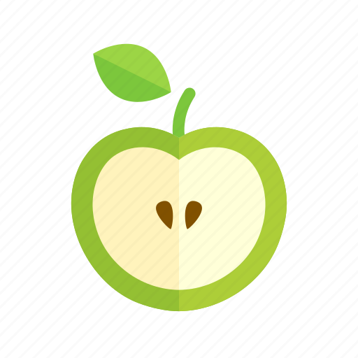 apple, colour, food, fruit, green, health icon