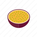 exotic, food, fruit, half, maracuja, passion fruit, tropical icon