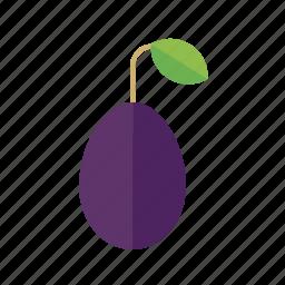 food, fruit, leaf, plum, prune icon