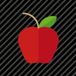 apple, food, fruit, leaf, red icon