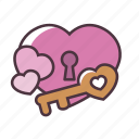 valentine, love, key, heart