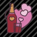 valentine, love, wine, romantic, dinner