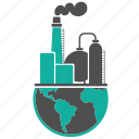 building, business, earth, energy, factory, fuel, globe, industry, oil, pollution, refinery icon