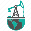earth, extraction, fossil, fuel, globe, oil, petroleum, production, pump icon