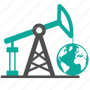 business, earth, extraction, fossil, fuel, globe, oil, petroleum, production, pump icon