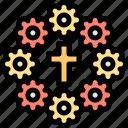 bouquet, cross, flower, funeral icon