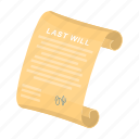 funeral, testament, paper, document, signature, text icon