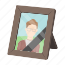 black, dead, frame, mourning, photo, tape icon