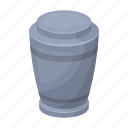 ash, container, dead, deceased, dust, urn, vessel icon