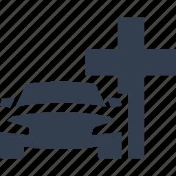 car, cross, death car, funeral, service, transportation icon