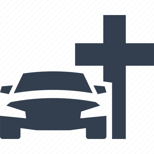 Car, Cross, Death Car, Funeral, Service, Transportation Icon