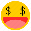 emojimoney02, eye money, money, money eyes icon