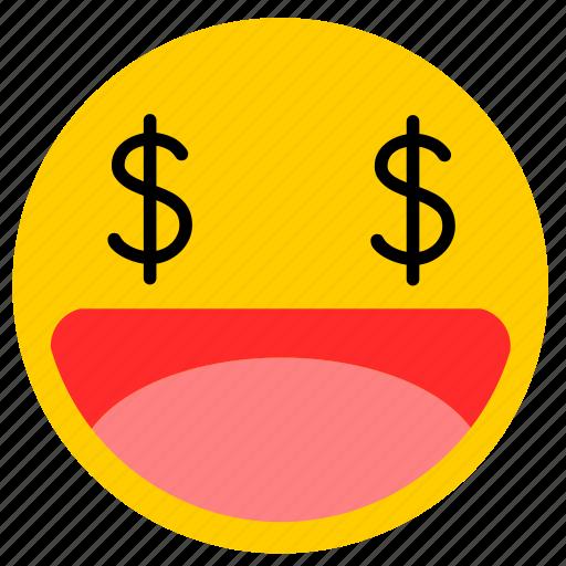 emojimoney02, eye money, money, money eyes icon