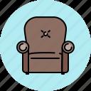 armchair, chair, fabric, furniture, leather, livingroom