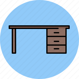 desk, drawers, furniture, wooden icon