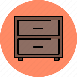 drawers, dresser, furniture, wooden icon