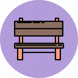 bench, furniture, outdoor, wooden icon
