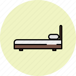 bed, bedroom, fabric, furniture, side, twin, wooden icon