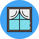 curtain, frame, furniture, glass, window, wooden icon