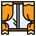 curtains, furniture, glass, window icon