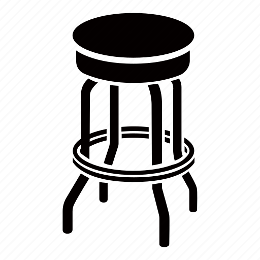 Bar, stool, seat, tall, chair, furniture icon