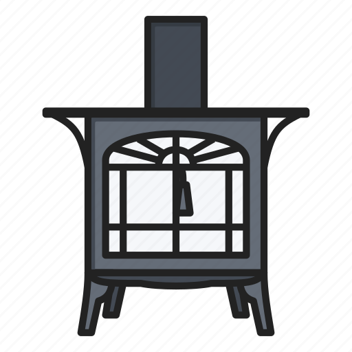 fireplace, stove, wood icon