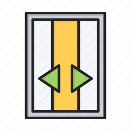 door, elevator, lift, open icon