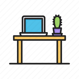 cactus, laptop, office, table, working, workplace icon