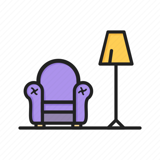 armchair, chair, furniture, lamp, night light, seat icon