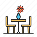 chair, dinner table, flower, kitchen, table icon