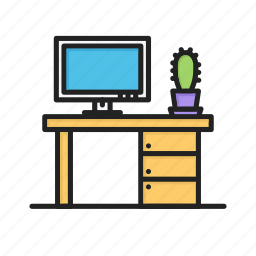cactus, office, table, working, workplace icon