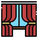 curtains, decoration, furnitures, household, window icon