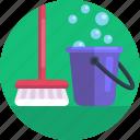cleaning brush, washing brush, water bucket, washing bucket, soapy water