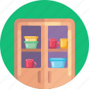 furniture, plates, cups, cupboard icon